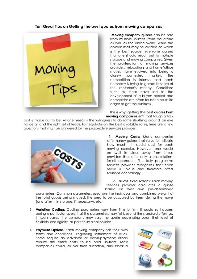 Moving Company Quotes Best Ten Great Tips On Getting The Best Quotes From Moving Companies