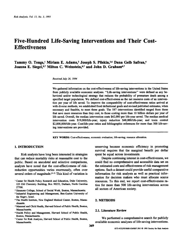 Risk Analysis, Vol. 15, No. 3, 1995     Five-Hundred Life-Saving Interventions and Their Cost- Effectiveness  Tammy 0. Ten...