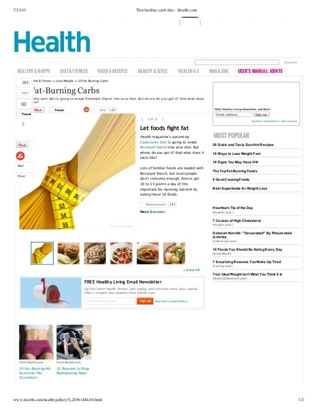 7/23/13  This healthy-carb diet - Health.com  Search  HEALTHY & HAPPY  DIET & FITNESS  FOOD & RECIPES  BEAUTY & STYLE  HEA...
