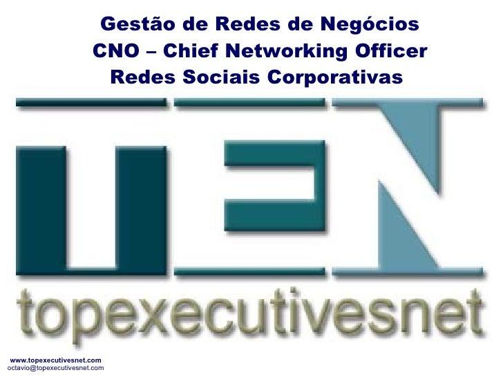 Gestão de Redes de Negócios CNO – Chief Networking Officer Redes Sociais Corporativas