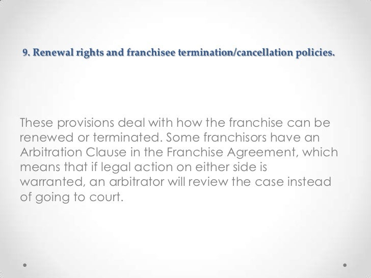 Ten Key Provisions Of Franchise Agreements