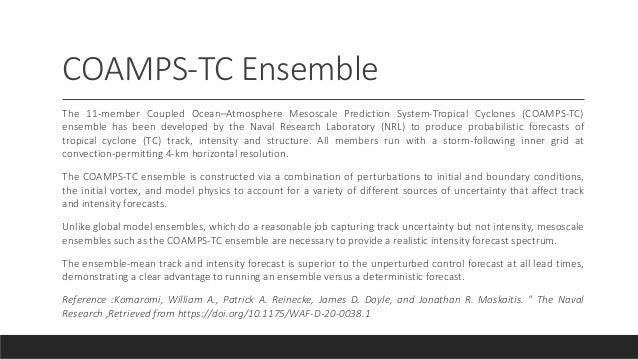 COAMPS-TC Ensemble The 11-member Coupled Ocean–Atmosphere Mesoscale Prediction System-Tropical Cyclones (COAMPS-TC) ensemb...