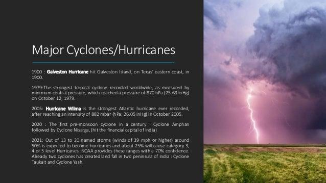 Major Cyclones/Hurricanes 1900 : Galveston Hurricane hit Galveston Island, on Texas' eastern coast, in 1900. 1979:The stro...