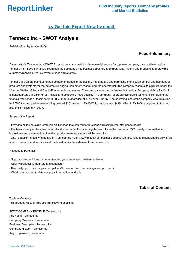 Tenneco Inc Swot Analysis