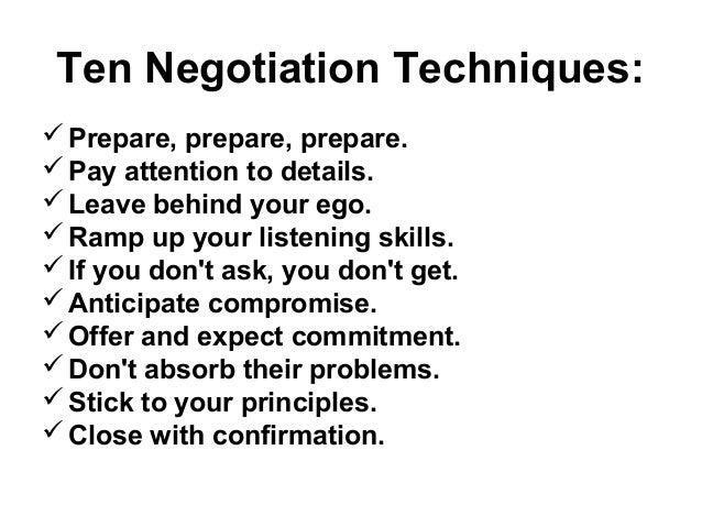 Ten negotiation techniques
