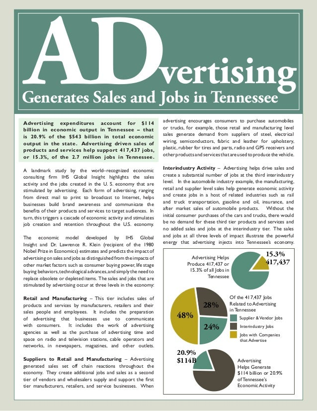 ADvertisingGenerates Sales and Jobs in Tennessee Advertising expenditures account for $114 billion in economic output in T...