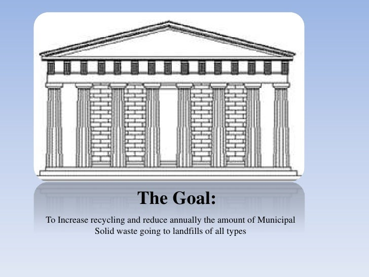 The Goal:<br />To Increase recycling and reduce annually the amount of Municipal Solid waste going to landfills of all typ...