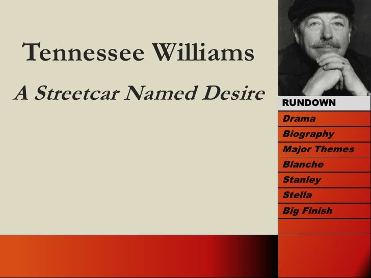 Tennessee Williams<br />A Streetcar Named Desire<br />RUNDOWN<br />Drama<br />Biography<br />Major Themes<br />Blanche<br ...