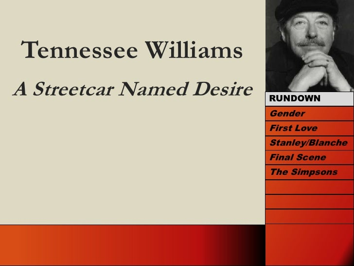 Tennessee Williams<br />A Streetcar Named Desire<br />RUNDOWN<br />Gender<br />First Love<br />Stanley/Blanche<br />Final ...