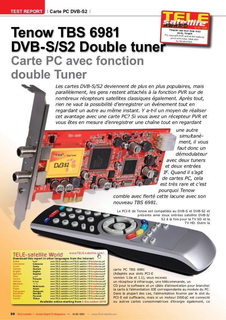 TEST REPORT                   Carte PC DVB-S2Tenow TBS 6981                                                               ...