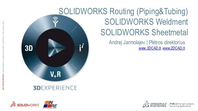 3DS.COM/SOLIDWORKS © Dassault Systèmes | Confidential Information | 10/9/2014 | ref.: 3DS_Document_2012  SOLIDWORKS Routin...