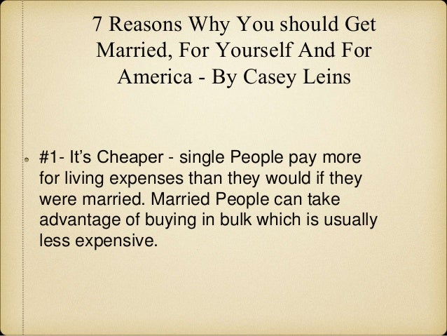 Reasons you should get married