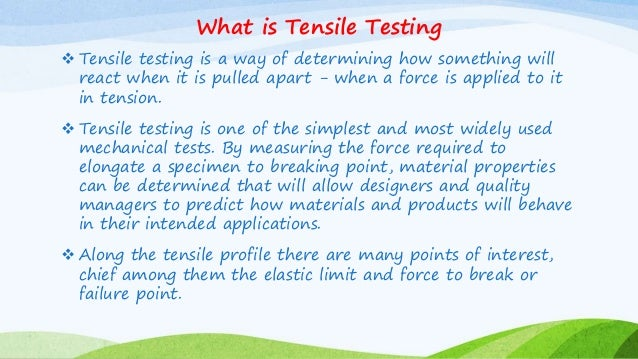 tensile test essay The results that we get when tensile test is done on the concrete block are as follows: sr no diameter of block (mm) length of block (mm) load applied (kn).