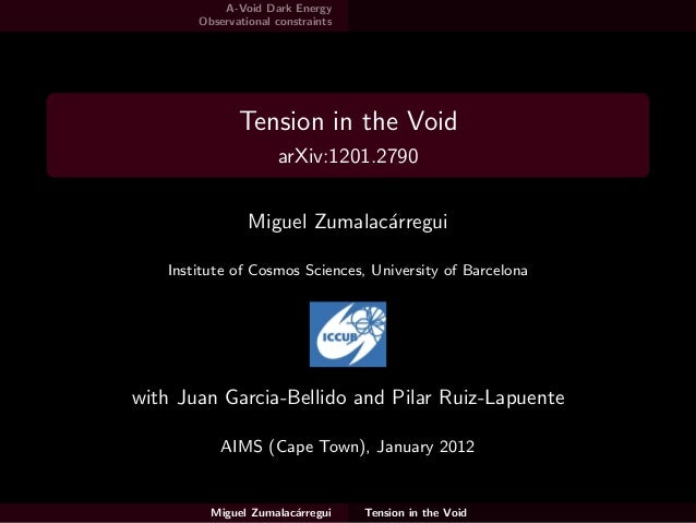 A-Void Dark Energy Observational constraints Tension in the Void arXiv:1201.2790 Miguel Zumalac´arregui Institute of Cosmo...
