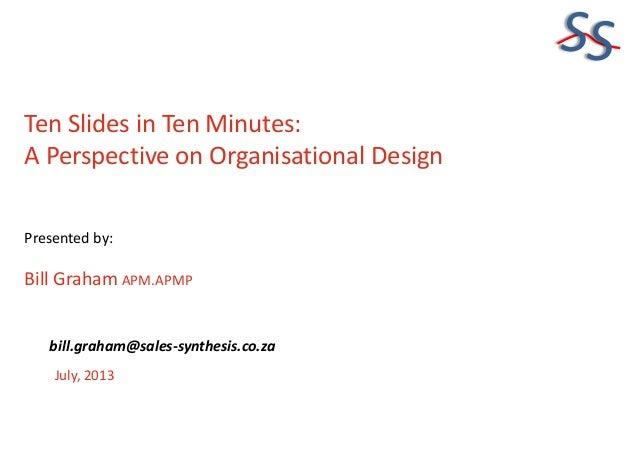 SS Ten Slides in Ten Minutes: A Perspective on Organisational Design Presented by: Bill Graham APM.APMP July, 2013 bill.gr...