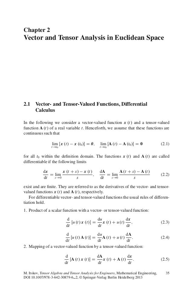 Chapter 2 Vector and Tensor Analysis in Euclidean Space 2.1 Vector- and Tensor-Valued Functions, Differential Calculus In ...