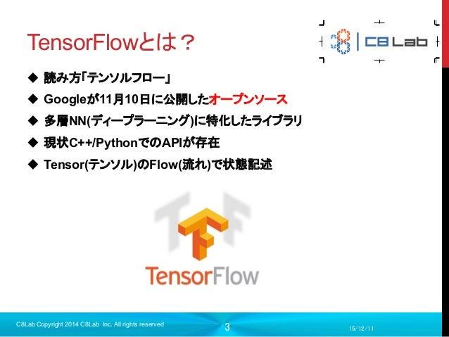 3 TensorFlowとは? 15/12/11 C8Lab Copyright 2014 C8Lab Inc. All rights reserved u 読み方「テンソルフロー」 u Googleが11月10日に公開したオー...