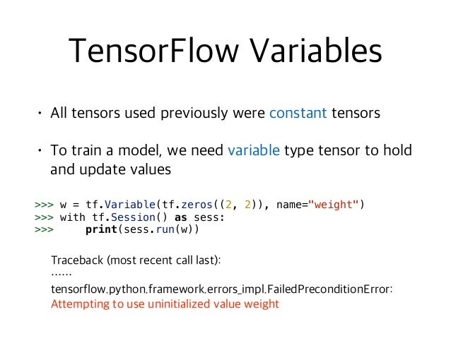 """>>> w = tf.Variable(tf.random_normal([5, 2], stddev=0.1),  name=""""weight"""") >>> with tf.Session() as sess: >>> sess.run(tf...."""