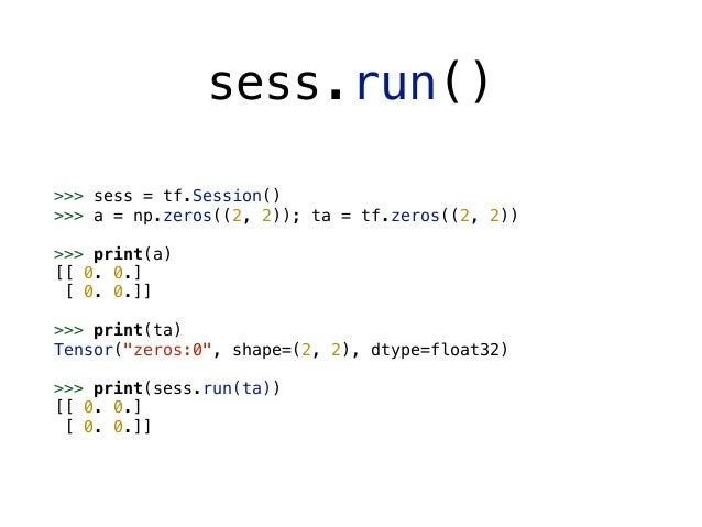 >>> a = tf.constant(5.0) >>> b = tf.constant(6.0) >>> c = a * b >>> sess = tf.Session() >>> print(sess.run(c)) 30.0