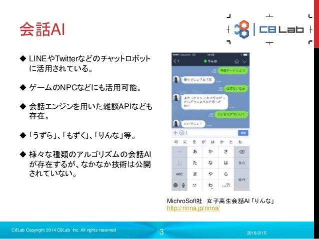 3 会話AI 2016/2/15 C8Lab Copyright 2014 C8Lab Inc. All rights reserved MichroSoft社 女子高生会話AI 「りんな」 http://rinna.jp/rinna/  L...