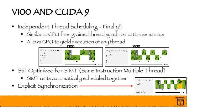 V100 AND CUDA 9 § Independent Thread Scheduling - Finally!! § Similar to CPU fine-grained thread synchronization semantics...