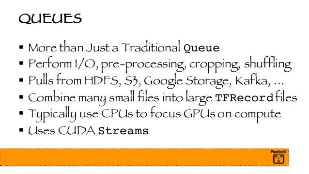 QUEUES § More than Just a Traditional Queue § Perform I/O, pre-processing, cropping, shuffling § Pulls from HDFS, S3, Goog...
