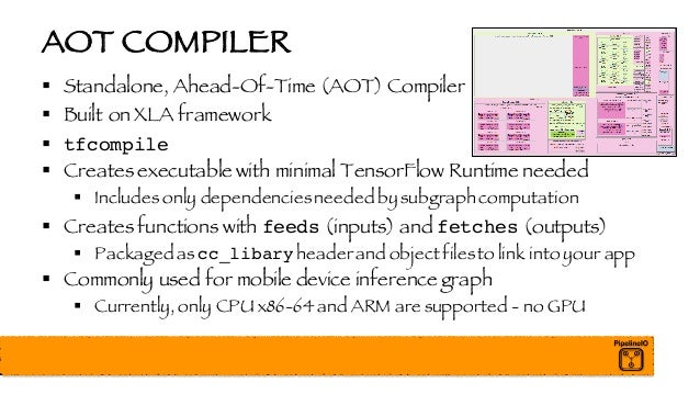 AOT COMPILER § Standalone, Ahead-Of-Time (AOT) Compiler § Built on XLA framework § tfcompile § Creates executable with min...