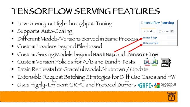 TENSORFLOW SERVING FEATURES § Low-latency or High-throughput Tuning § Supports Auto-Scaling § DifferentModels/Versions Ser...