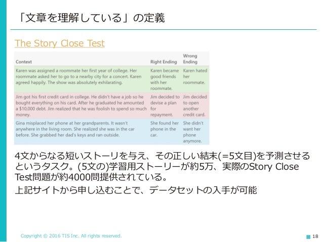 Copyright © 2016 TIS Inc. All rights reserved. 18 「文章を理解している」の定義 The Story Close Test 4文からなる短いストーリを与え、その正しい結末(=5文目)を予測させる ...
