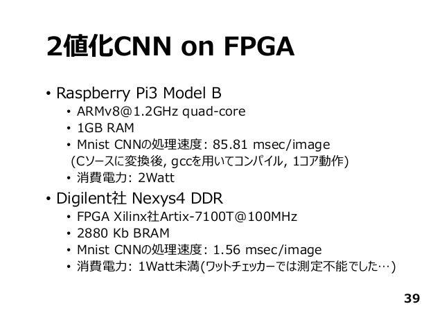 2値化CNN on FPGA • Raspberry Pi3 Model B • ARMv8@1.2GHz quad-core • 1GB RAM • Mnist CNNの処理速度: 85.81 msec/image (Cソースに変換後, gc...