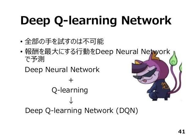 Deep Q-learning Network • 全部の⼿を試すのは不可能 • 報酬を最⼤にする⾏動をDeep Neural Network で予測 Deep Neural Network + Q-learning ↓ Deep Q-lear...
