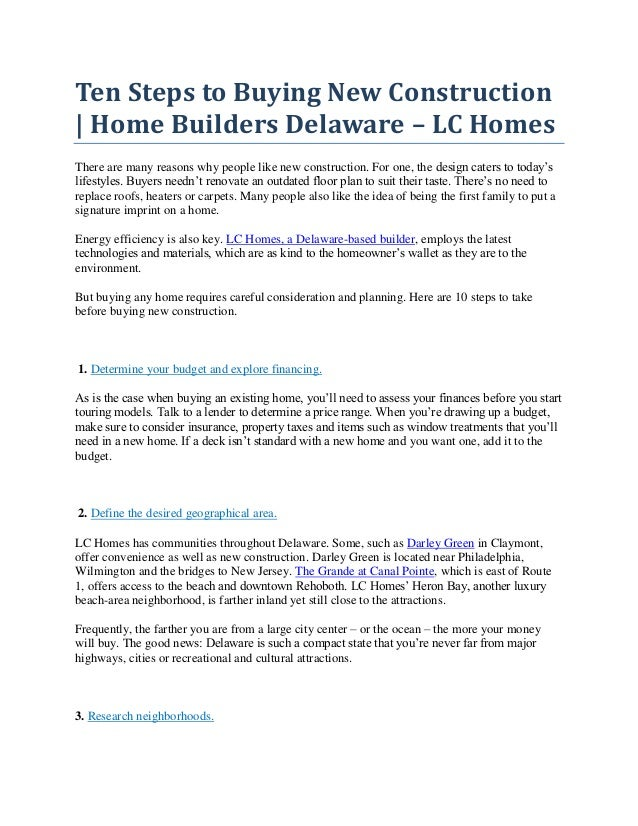 ten steps to buying new construction home builders delaware lc hom  ten steps to buying new construction home builders delaware lc homes there are many