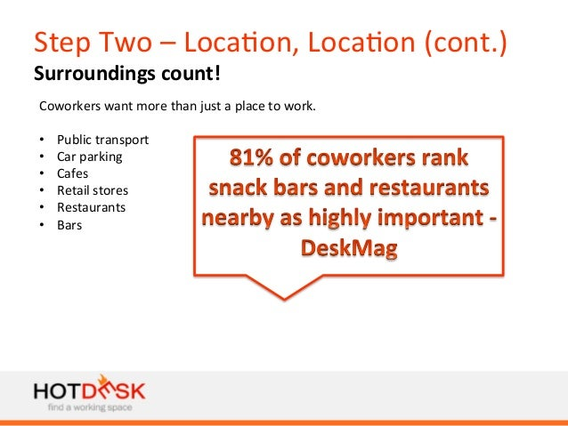 Step  Two  –  Loca)on,  Loca)on  (cont.)   Surroundings  count!   Coworkers  want  more  than  jus...