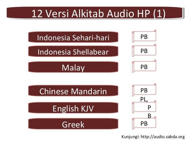 Chinese Mandarin PB Greek PB English KJV PL, P B 12 Versi Alkitab Audio HP (1)12 Versi Alkitab Audio HP (1) Indonesia Seha...