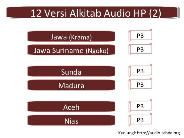 12 Versi Alkitab Audio HP (2)12 Versi Alkitab Audio HP (2) PB Aceh PB Jawa (Krama) Jawa Suriname (Ngoko) PBMadura PB Nias ...