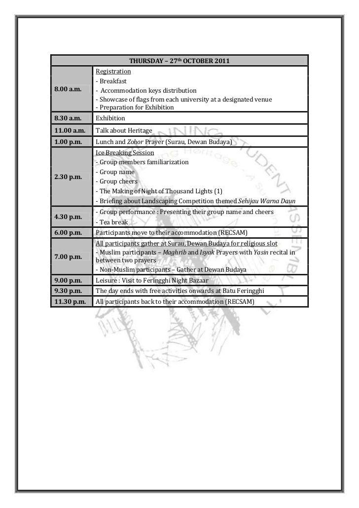 THURSDAY – 27th OCTOBER 2011             Registration             - Breakfast8.00 a.m.    - Accommodation keys distributio...