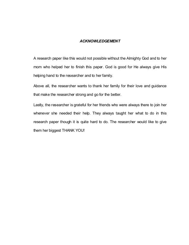 Acknowledgment in research paper term paper example 2584 words.