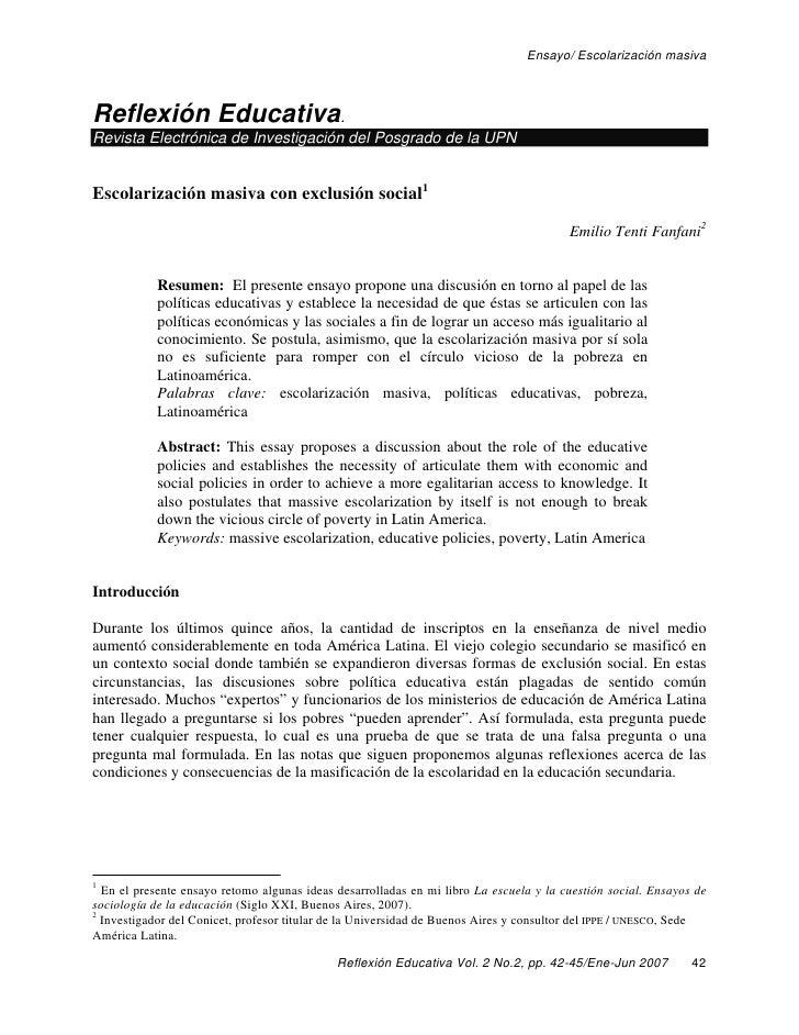 Ensayo/ Escolarización masivaReflexión Educativa.Revista Electrónica de Investigación del Posgrado de la UPNEscolarización...