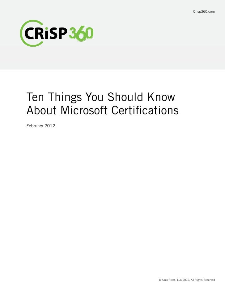 Ten Things You Should Know About Microsoft Certification
