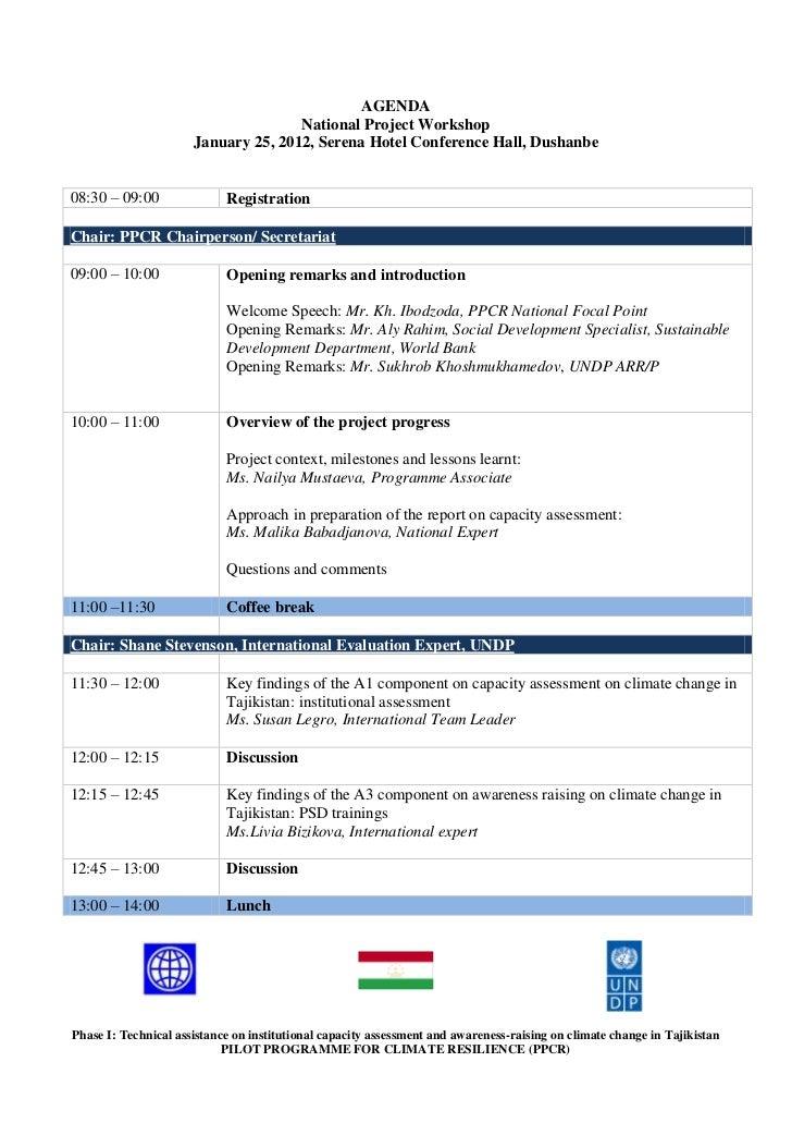 AGENDA                                     National Project Workshop                      January 25, 2012, Serena Hotel C...