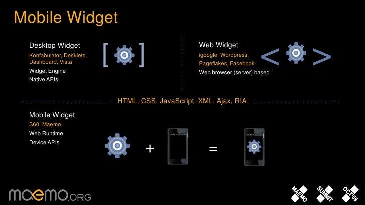 Mobile Widget <br />Web Widget<br />igoogle, Wordpress,<br />Pageflakes, Facebook<br />Web browser (server) based<br />De...