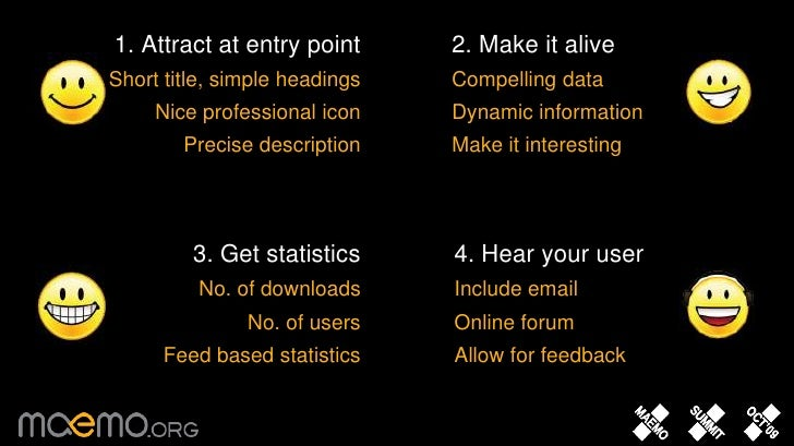 2. Make it alive<br />Compelling data<br />Dynamic information<br />Make it interesting<br />1. Attract at entry point <br...