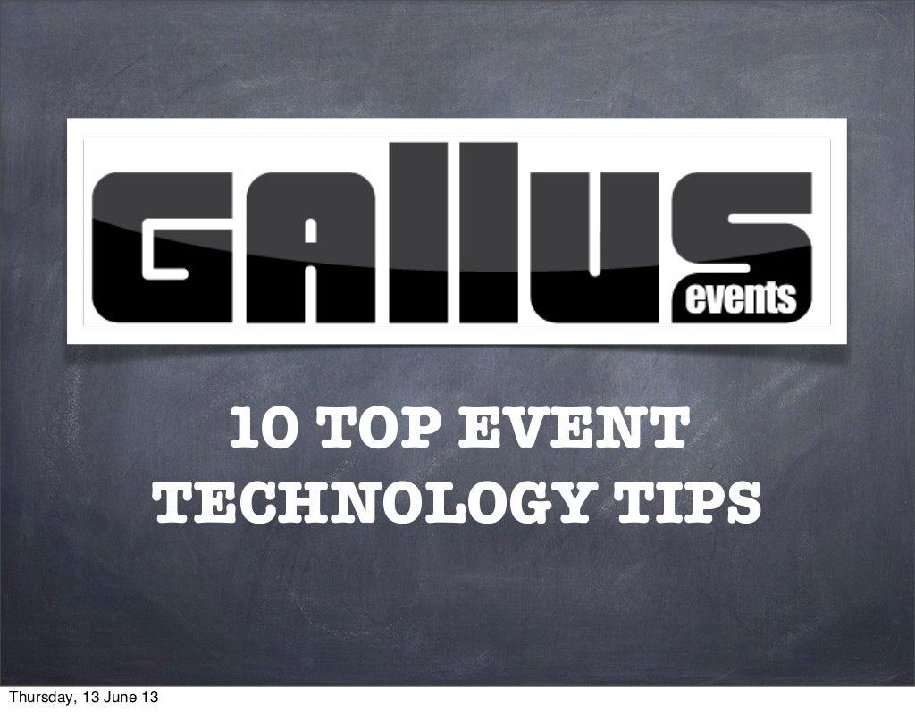 Ten top event technology tips