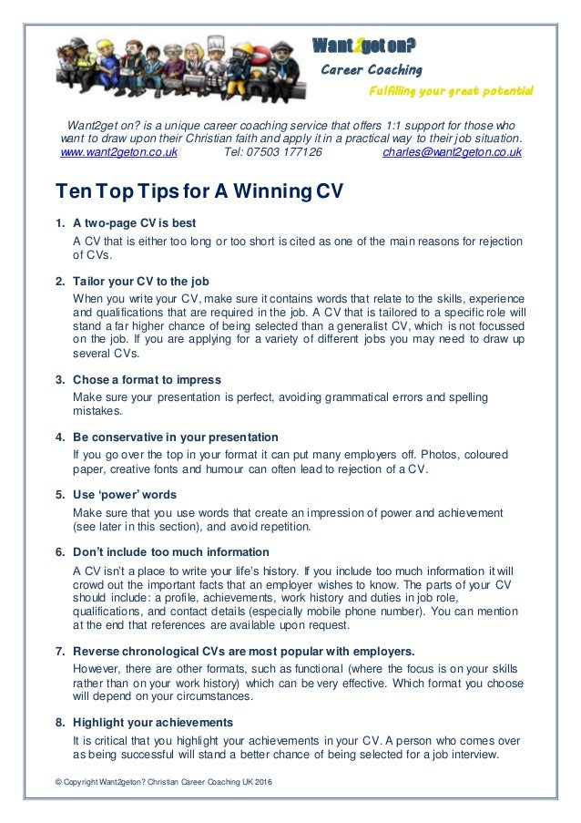ten top tips for a winning cv