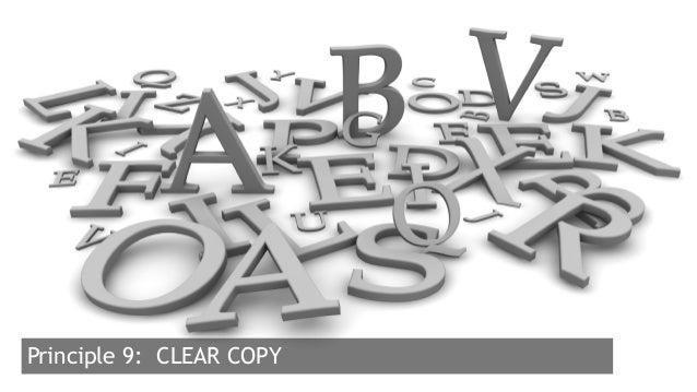 23  Principle 9: CLEAR COPY