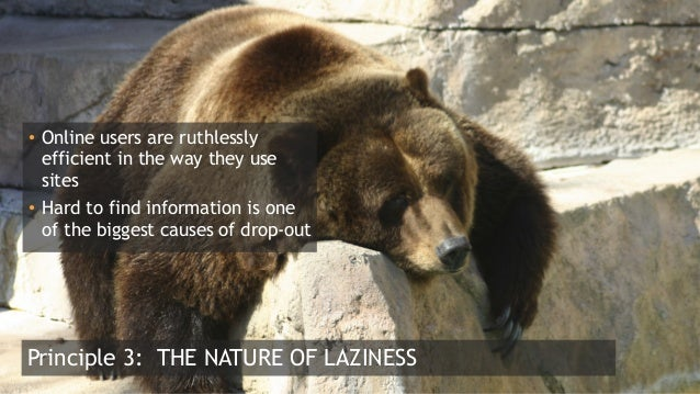 9  Principle 3: THE NATURE OF LAZINESS • Online users are ruthlessly efficient in the way they use sites • Hard to find...