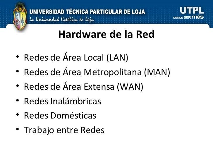 Hardware de la Red <ul><li>Redes de Área Local (LAN) </li></ul><ul><li>Redes de Área Metropolitana (MAN) </li></ul><ul><li...