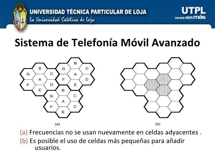 Sistema de Telefonía Móvil Avanzado (a)  Frecuencias no se usan nuevamente en celdas adyacentes . (b)  Es posible el uso d...