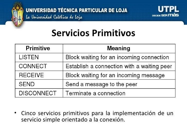 Servicios Primitivos <ul><li>Cinco servicios primitivos para la implementación de un servicio simple orientado a la conexi...