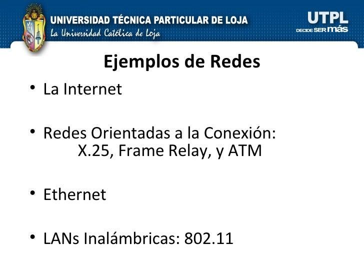 Ejemplos de Redes <ul><li>La Internet </li></ul><ul><li>Redes Orientadas a la Conexión:   X.25, Frame Relay, y ATM </li></...